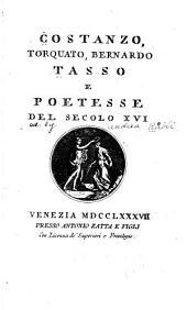 Costanzo, Torquato, Bernardo Tasso e poetesse del secolo XVI.