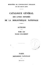Catalogue général des livres imprimés de la Bibliothèque nationale: Auteurs, Volume30