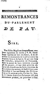 Remontrances Du Parlement De Pau