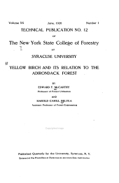 Yellow Birch and Its Relation to the Adirondack Forest: Issue 12