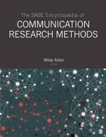 The SAGE Encyclopedia of Communication Research Methods PDF