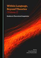 Within Language  Beyond Theories  Volume I  PDF