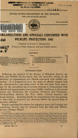 Organizations and Officials Concerned with Wildlife Protection  1942 PDF