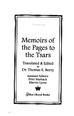 Memoirs of the Pages to the Tsars