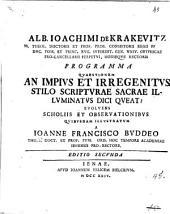 Alb. Ioachimi De Krakevitz ... Programma quaestionem an impius et irregenitus stilo scripturae sacrae illuminatus dici queat?
