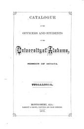 Catalogue of the University of Alabama ... and Announcements