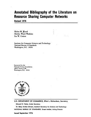Annotated Bibliography of the Literature on Resource Sharing Computer Networks PDF