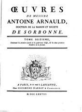 Oeuvres de messire Antoine Arnauld: Volume16