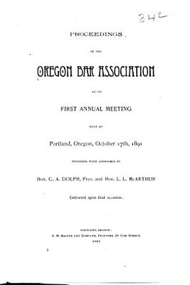 Proceedings of the Oregon Bar Association at Its Annual Meeting PDF