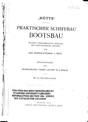 Praktischer Schiffbau  Bootsbau PDF
