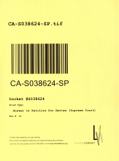 California. Supreme Court. Records and Briefs: S038624, Answer to Petition for Review (Supreme Court)