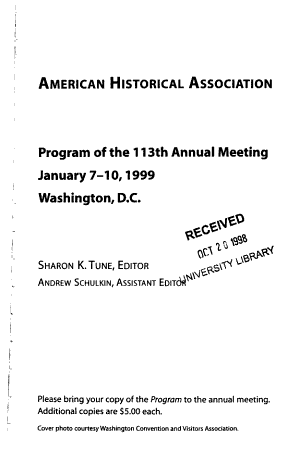 Program of the Annual Meeting   American Historical Association PDF