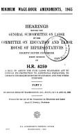Minimum Wage hour Amendments  1965  Hearing  89 1  1965 PDF