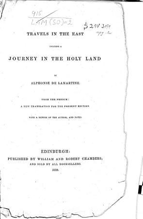 Travels in the East  Including a Journey in the Holy Land PDF