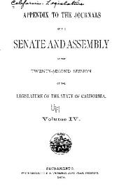Appendix to the Journals of the Senate and Assembly: Volume 4