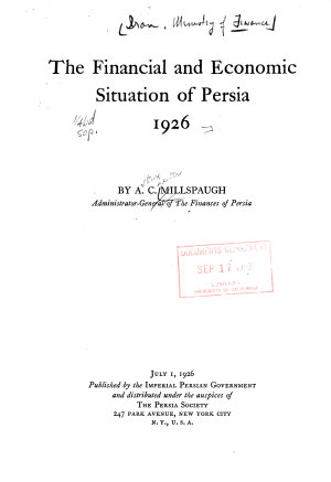 The Financial and Economic Situation of Persia  1926