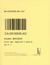 California. Court of Appeal (4th Appellate District). Division 1. Records and Briefs: D016545, Appellant's Opening