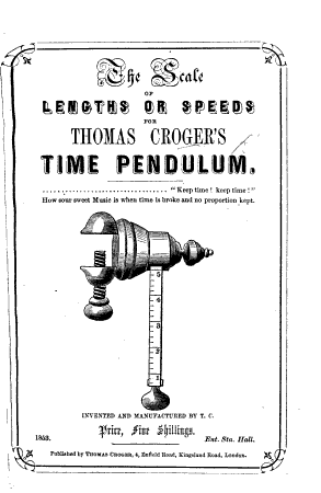 The Scale of Lengths Or Speeds for Thomas Croger s Time Pendulum PDF