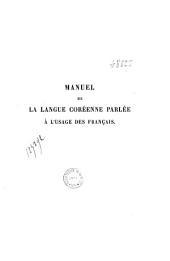 Manuel de la langue coréenne parlée à l'usage des français