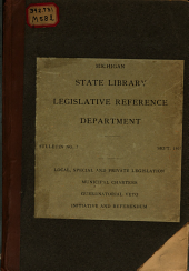 Local, special and private legislation, municipal charters, gubernatorial veto, initiative and referundum: as provided for and regulated by the Constitutions of the several states