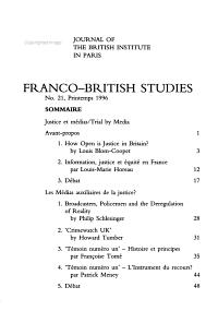 Franco British Studies PDF