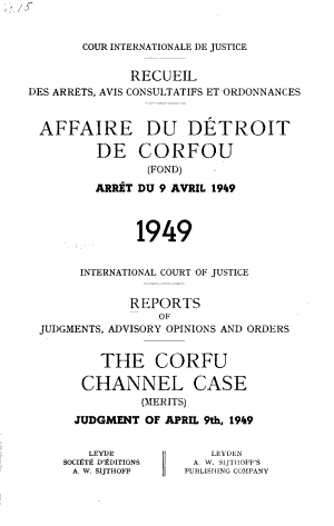 Recueil Des Arrêts, Avis Consultatifs Et Ordonnances