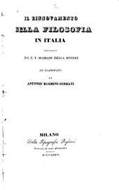 Il rinnovamento della filosofia in Italia: proposto dal C.T. Mamiani della Rovere, ed esaminato da Antonio Rosmini-Serbati