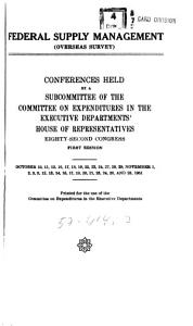 Federal Supply Management   overseas Survey  Conferences     Oct  and Nov  1951