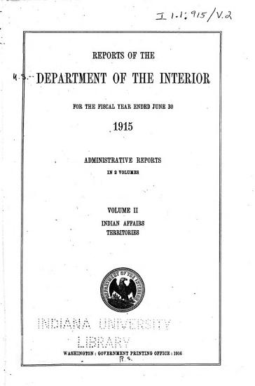 Reports of the Department of the Interior for the Fiscal Year Ended June 30     PDF