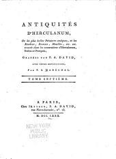 Antiquités d'Herculanum: ou Les plus belles peintures antiques, et les marbres, bronzes, meubles, etc. etc. trouvés dans les excavations d'Herculaneum, Stabia et Pompeïa, Volume7