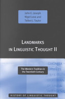 Landmarks in Linguistic Thought II