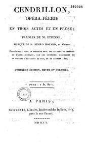 Cendrillon: opéra-féerie en trois actes et en prose