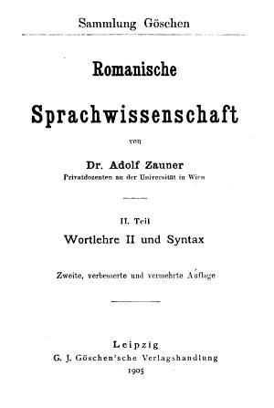 Romanische Sprachwissenschaft PDF