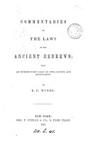 Commentaries on the laws of the ancient Hebrews   c    PDF