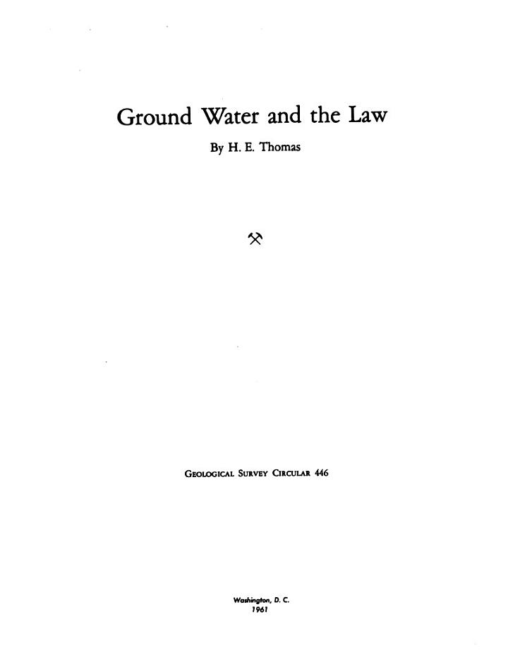 Ground Water and the Law