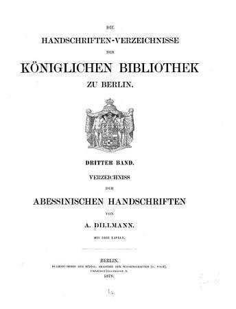 Verzeichniss der abessinischen Handschriften PDF