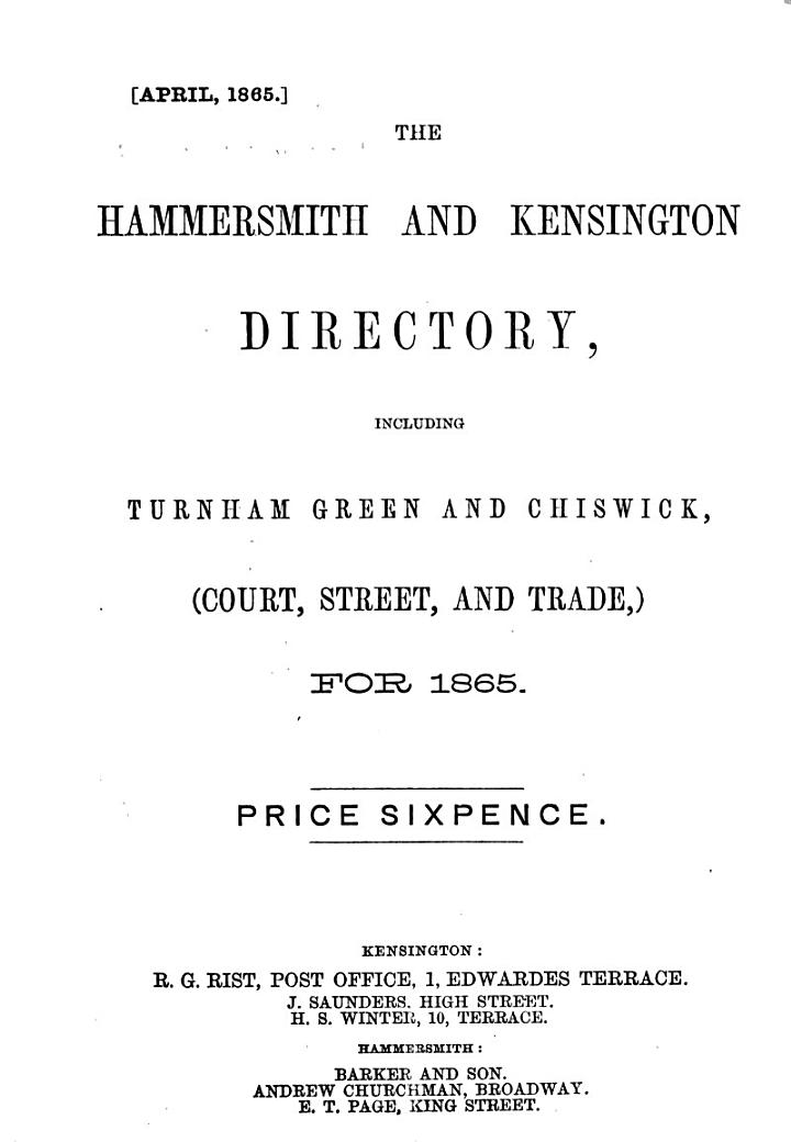 The Hammersmith and Kensington Directory