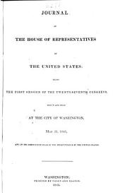 Journal of the House of Representatives of the United States: Volume 27, Issue 1