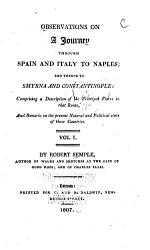 Observations on a Journey Through Spain and Italy to Naples