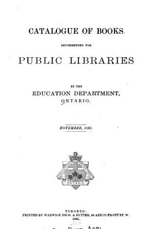 Catalogue of Books Recommended for Public Libraries     November  1895 PDF