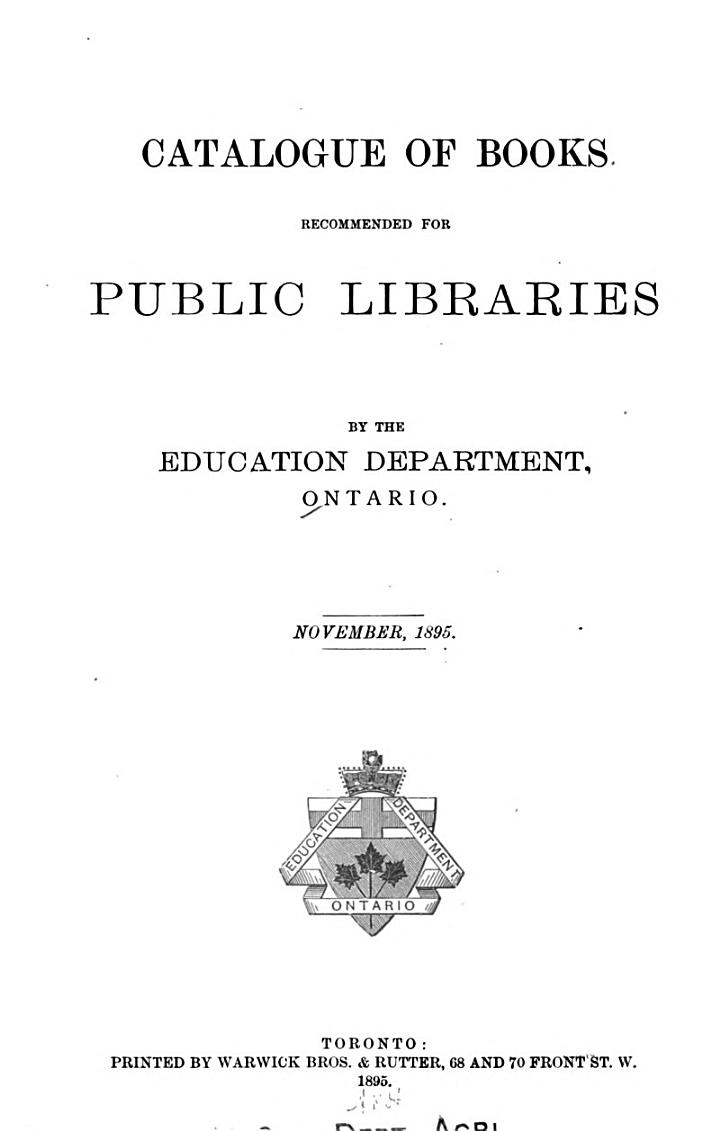 Catalogue of Books Recommended for Public Libraries ... November, 1895