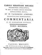 Caroli Sebastiani Berardi ... Commentaria in jus ecclesiaticum universum: Volume 1