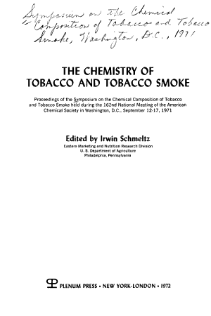 The Chemistry of Tobacco and Tobacco Smoke