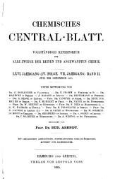Chemisches Zentralblatt: Vollständiges Repertorium für alle Zweige der Reinen und angewandten Chemie, Band 2;Band 66