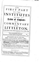 The First Part of the Institutes of the Law of England PDF