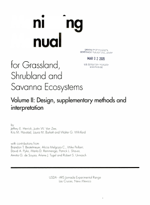 Monitoring manual for grassland  shrubland and savanna ecosystems