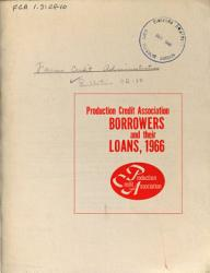 Production Credit Association Borrowers and Their Loans  1966 PDF