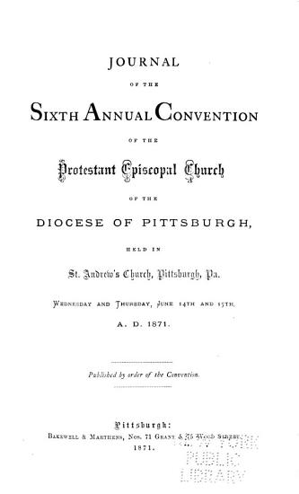 Journal of the     Annual Convention  Diocese of Pittsburgh PDF