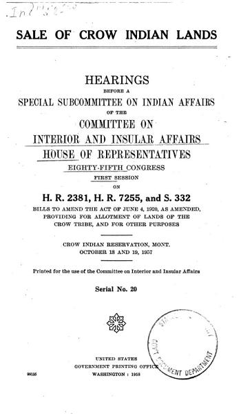 Download Sale of Crow Indian Lands Book