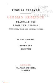 German romance; translations from the German, with biographical and critical notices